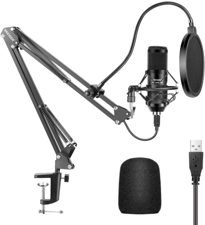 Microfono Condensador Neewer Nw-8000-usb Pc Laptop Grabación Podcast 0