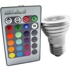 Dicroica Lampara Rgb E27 3w C/control 16 Colores Led 220w La Plata