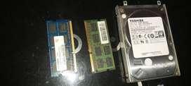 Disco duro 500 gb + 2 Memorias  ram