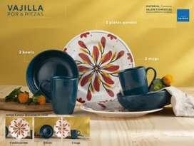 Vajilla Flores (2 Puestos) 6 Piezas Corona Azul NUEVO