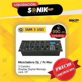 Mixer dj de 5 canales con USB