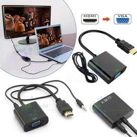 Adaptador Convertidor Hdmi A Vga Macho Con Audio Tv Pc Juego