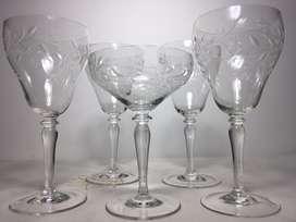 Copas antiguas para vino blanco set de 5