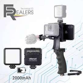 Soporte Telefono Go-pro Camara Filmadora + Luz Recargable