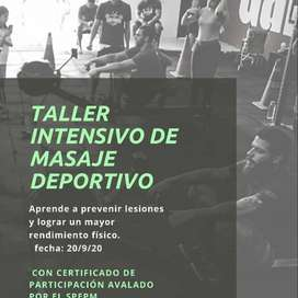 TALLER DE TECNICAS DE MASAJE DEPORTIVO