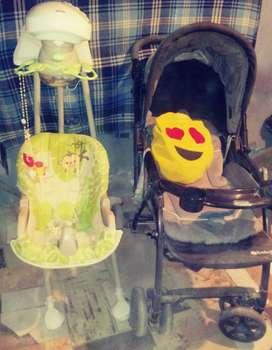 Coche y silla mesedora para bebe