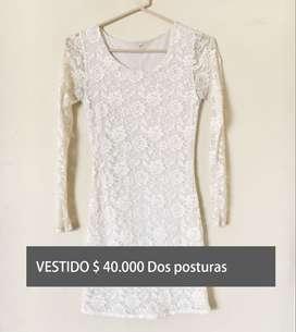 Hermoso vestido blanco hueso