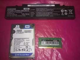 Vendo combo memoria , bateria y disco rigido