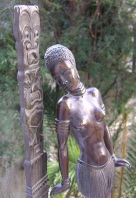 Figura Art Deco Africana Y Totem Bronce Pavonado / Maxim Nord