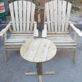 vendo sillones rusticos y mesita