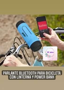 Parlante Bluetooth para bicicleta con linterna y power BANk