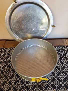 Bandeja redonda en acero con bronce y molde desmontable torta n*5