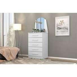 cómoda de 5 gavetas con espejo, cajonera color blanco de melamina de 15 mm, muebles de melamine