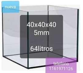 Pecera nueva cubo 40x40x40 5mm espesor 64 litrosor
