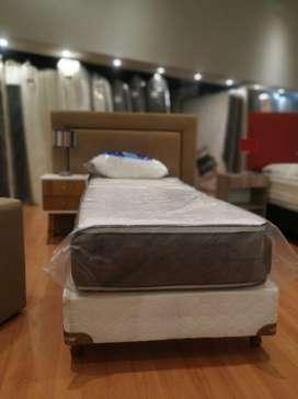 Colchon Resortes con pillow top una plaza soport hasta 100kg