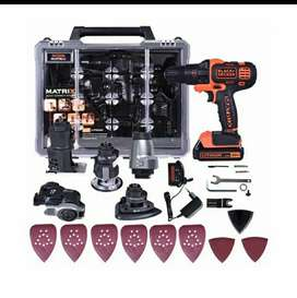 Taladro inalámbrico 6 en 1 matrix de 20v Black and decker con accesorios