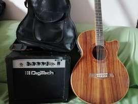 Guitarra eléctro acústica con forro de cuero