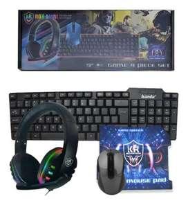 Combo Gamer Kit 4 Piezas Teclado + Mouse + Audífonos + Pad Mouse K80