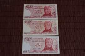 "Billetes Argentinos 100 pesos serie ""Pesos Ley 18188"""