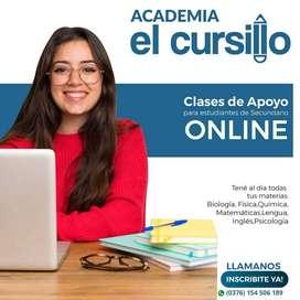 CLASES PARTICULARES DE APOYO ONLINE. MATERIAS DEL SECUNDARIO
