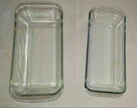2 Fuentes PIREX rectangulares. Una 30 cm x 14 cm x 9,5 cm Otra 28,5 cm x 11,5 cm x 8,5 cm Impecable estado