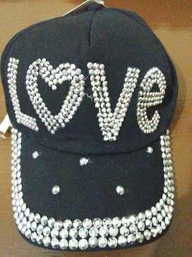 gorra de jean con brillos