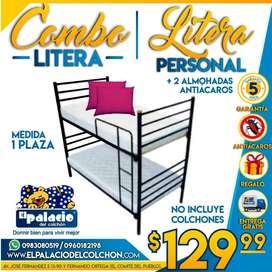 * LITERAS !!! PROMOCIONES !!! Mas ALMOHADAS mas ENTREGA mas GARANTÍA !!! LITERAS METALICAS **LLAME PALACIO DEL COLCHON**
