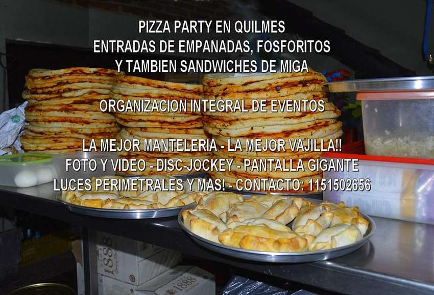 PIZZA PARTY CON O SIN ENTRADA ZONA SUR QUILMES WILDE BERA 1122901882 0