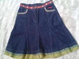 Pollera De Jeans Mimo Para Niñas