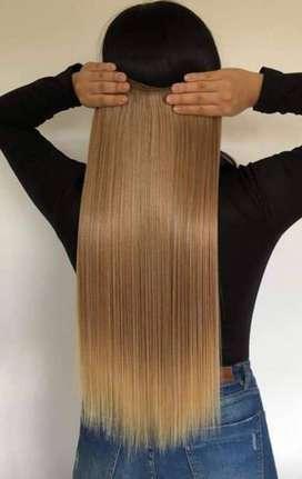 extenciones de cabello seminaturales procesadas y humanas y semisinteticas
