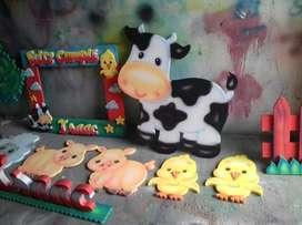 Figuras Icopor de granja cumpleaños