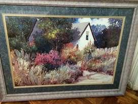 CUADRO Lamina Enmarcado Casa con Jardin IMPECABLE Y ELEGANTE