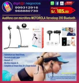 Audífono con micrófono marca MOTOROLA modelo Verveloop 200 con conexión Bluetooth