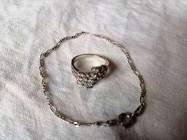 De oportunidad anillo y pulsera de plata