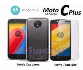 Combo Funda De Silicona O Tpu Film Motorola C O C Plus