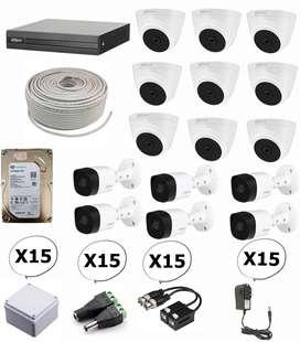 Kit de 15 camaras de seguridad full hd 1080p dahua + dvr 16 1080p dahua
