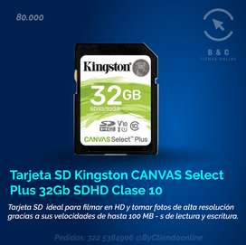 Memoria Kingston Canvas Select Plus Sdhc De 32gb Sd