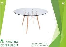 Mesa Comedor Vidrio Templado 120 cm de diámetro Patas De Madera