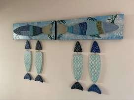 Decoración cuadros peces de madera