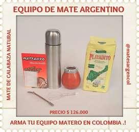 EQUIPO MATERO ARGENTINO! MATE CALABAZA con BOMBILLA c YERBA MATE y TERMO !