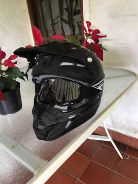 Casco Moto Cross Fly con Gafas Goggles Fly