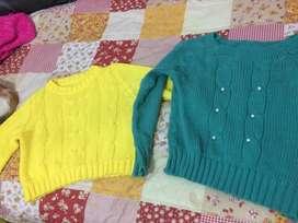 Sweaters amarillo y verde