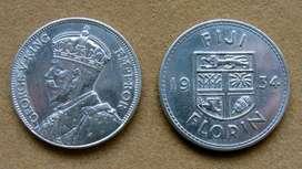 Moneda de 1 florín de plata,  Islas Fiji bajo Administración Británica 1934