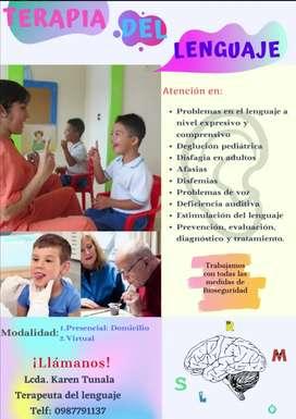 Terapia del lenguaje a domicilio y online