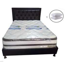 Combo Full Colchón Bi Confort 140x190x33 + Base cama + Espaldar + Envió Bta.