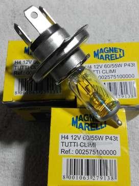 3 LAMPARAS MAGNET MARELLI H4 12V 60/55 P43t TODO CLIMA AMARILLAS ANTIENCANDILAMIENTO