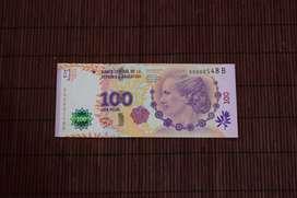 Billete Argentino 100 pesos EVITA Serie B  NUM BAJA