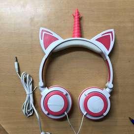 Auricular Vincha Unicornio Con Luz Led C/ Microfono Para Niños