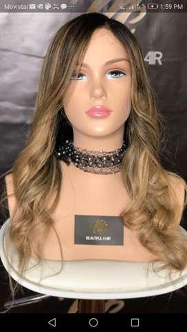 Hermosa Peluca cabello humano