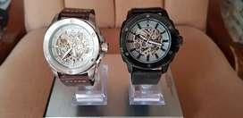 Reloj Fossil Automático Máxima Calidad como Original, Resistente al agua 5ATM, Caja de Acero Inoxidable, Correa de cuero